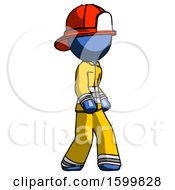 Blue Firefighter Fireman Man Walking Turned Right Front View