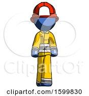 Blue Firefighter Fireman Man Walking Front View