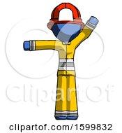 Blue Firefighter Fireman Man Directing Traffic Left