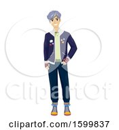 Clipart Of A Teen Guy With Purple Hair Wearing A Kpop Outfit Royalty Free Vector Illustration