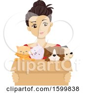 Clipart Of A Teen Girl Holding A Box Of Foster Puppies And Kittens Royalty Free Vector Illustration