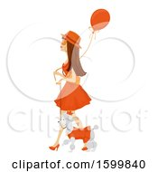 Clipart Of A Teen Girl In An Orange Dress Walking Her Dog And Celebrating Kings Day Royalty Free Vector Illustration