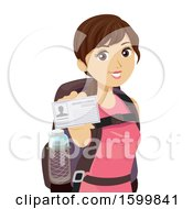 Clipart Of A Teen Girl Traveler Wearing A Backpack And Showing Her Drivers License Royalty Free Vector Illustration