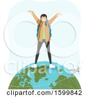 Teen Girl Traveler Standing On Top Of The Globe With A Flying Plane