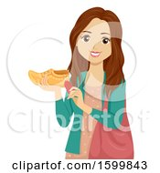 Clipart Of A Teen Girl Holding A Clog Shoe Netherlands Souvenir Royalty Free Vector Illustration