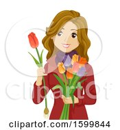 Clipart Of A Teen Girl Holding Netherlands Flowers On Tulips Day Royalty Free Vector Illustration