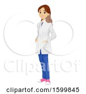 Teen Girl Wearing A Chemistry Lab Coat