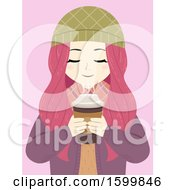 Teen Girl With Pink Hair Smelling Hot Coffee