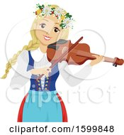 Swedish Teen Girl Playing A Fiddle During Midsummer Festival