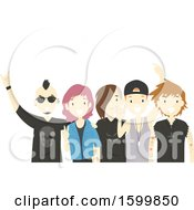 Clipart Of A Group Of Teens With A Rock Band Royalty Free Vector Illustration
