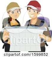 Clipart Of A Teen Couple Traveleing And Reading A Map Royalty Free Vector Illustration