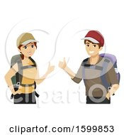Clipart Of A Teen Couple Traveleing And Giving Thumbs Up Royalty Free Vector Illustration