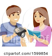 Clipart Of A Teen Girl And Guy Reading A Manual For A Video Camera Royalty Free Vector Illustration
