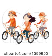 Clipart Of A Group Of Teenagers Dressed In Orange Riding Bikes On Kings Day Royalty Free Vector Illustration