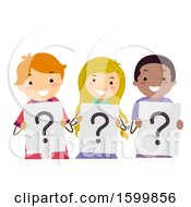 Clipart Of A Group Of Teenagers Holding Question Mark Signs Royalty Free Vector Illustration by BNP Design Studio