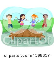 Clipart Of A Group Of Teenagers Holding Hands And Jumping From A Dock Into A Lake Royalty Free Vector Illustration