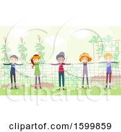 Clipart Of A Group Of Teenagers Forming A Human Fence In A Garden Royalty Free Vector Illustration
