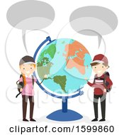 Clipart Of A Traveling Teen Boy And Girl Talkinga Nd Presenting A Desk Globe Royalty Free Vector Illustration