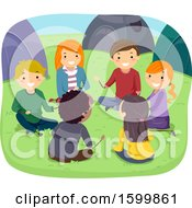 Clipart Of A Group Of Teenagers Sitting In A Circle At Camp Royalty Free Vector Illustration