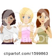 Clipart Of A Group Of Teen Girls With Fresh Manicures Royalty Free Vector Illustration