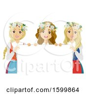 Group Of Teen Girls Holding A Sign And Wearing Flower Wreaths For Midsummer Festival