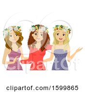 Clipart Of A Group Of Teen Girls Wearing Flower Wreaths For Midsummer Festival Royalty Free Vector Illustration
