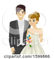 Clipart Of A Teen Couple Ready For Prom Or Debutant Royalty Free Vector Illustration