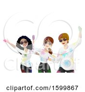 Clipart Of A Group Of Teenagers Covered In Holi Powder Royalty Free Vector Illustration