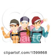 Clipart Of A Group Of Teenage Travelers Royalty Free Vector Illustration