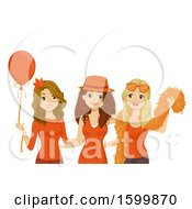 Group Of Teen Girls Wearing Orange And Celebrating Kings Day