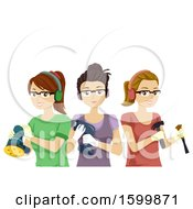 Group Of Teen Girls With Woodworking Tools