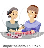 Clipart Of A Teenage Girl And Guy Greating A Monster Arm With Makeup Royalty Free Vector Illustration