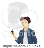 Clipart Of A Teen Guy Smoking An E Cigarette Royalty Free Vector Illustration by BNP Design Studio
