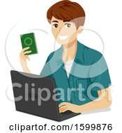 Clipart Of A Teen Guy Holding A Passpot And Using A Laptop Royalty Free Vector Illustration