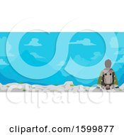 Clipart Of A Rear View Of A Teen Guy Hiker Sitting With A Mountain View Royalty Free Vector Illustration