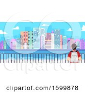 Clipart Of A Rear View Of A Teen Guy Traveler Viewing A City Royalty Free Vector Illustration