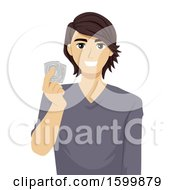 Clipart Of A Teen Guy Holding Condoms Royalty Free Vector Illustration