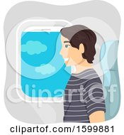 Clipart Of A Teen Guy Sitting In An Airplane Window Seat Royalty Free Vector Illustration
