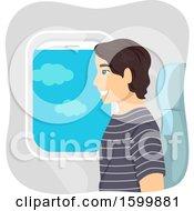 Teen Guy Sitting In An Airplane Window Seat