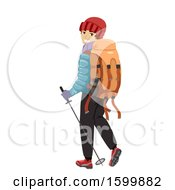 Clipart Of A Teen Guy Hiker With A Backpack And Pole Royalty Free Vector Illustration