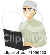 Teen Muslim Guy Using A Laptop