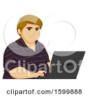 Chubby Teen Guy Using A Laptop Computer