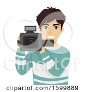 Clipart Of A Teen Guy Filming With A Video Camera Royalty Free Vector Illustration
