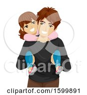 Clipart Of A Teen Guy Carrying His Little Sister On His Back Royalty Free Vector Illustration