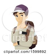 Clipart Of A Teen Guy Traveler Thinking Royalty Free Vector Illustration