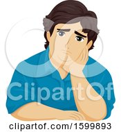 Clipart Of A Chubby Depressed Teen Guy Resting His Head Against His Hand Royalty Free Vector Illustration