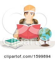Clipart Of A Teen Guy Reading About Travel To Another Country Royalty Free Vector Illustration