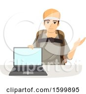 Clipart Of A Teen Guy Ready To Travel Showing A Laptop With A Blank Screen Royalty Free Vector Illustration