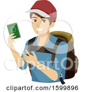 Clipart Of A Teen Guy Traveler Holding A Passport Royalty Free Vector Illustration