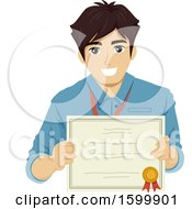 Clipart Of A Teenage Guy Intern Holding A Certificate Royalty Free Vector Illustration